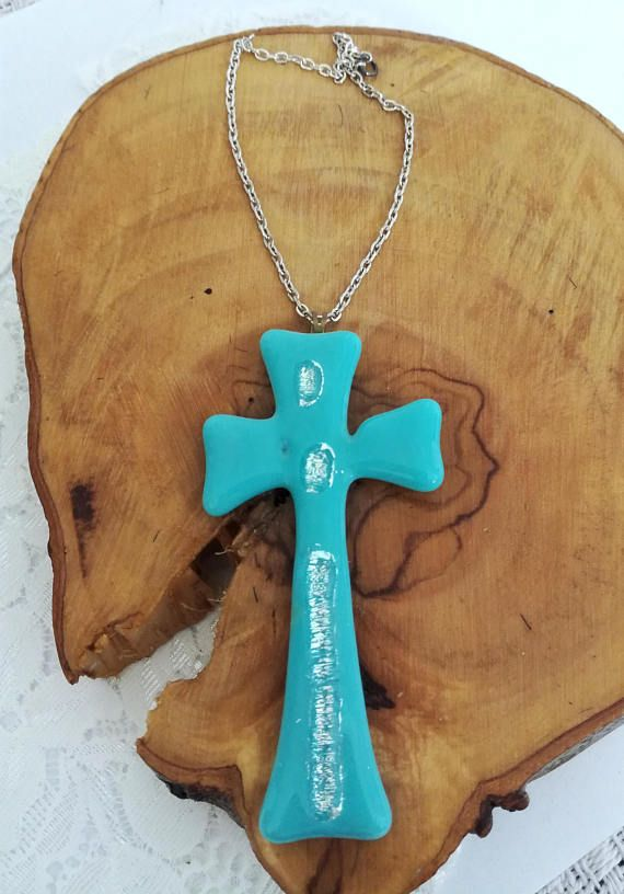 Christmas Gift Gl Cross Turquoise Wall Hanging Home Decor Fused