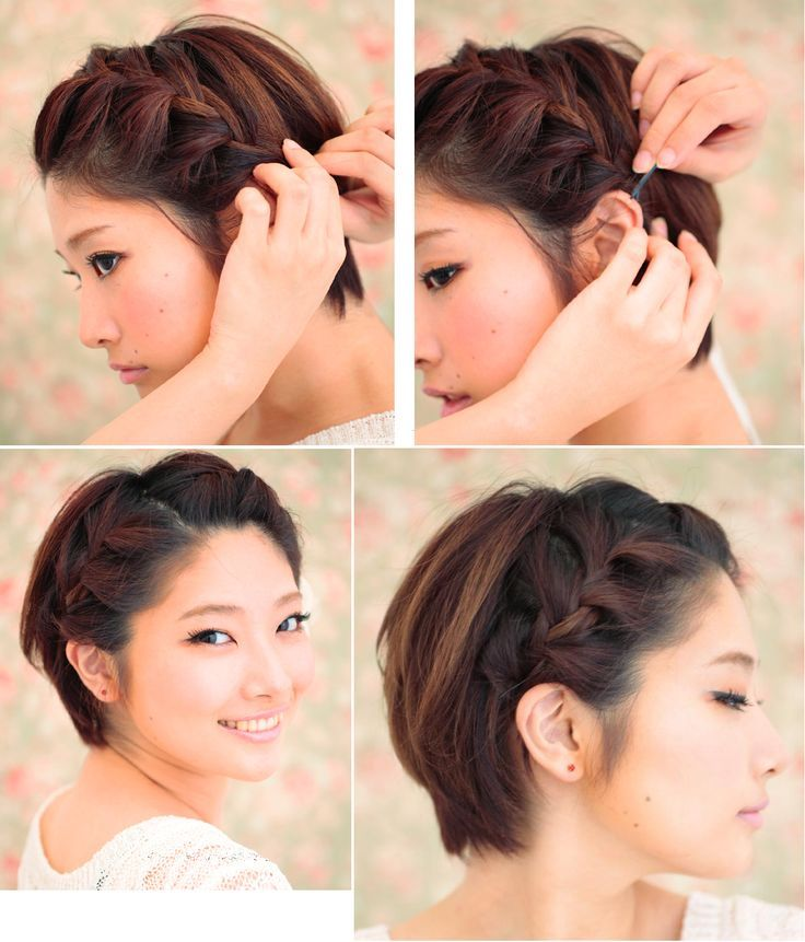 thick side braid, pinned - perfect for a longer pixie cut ...