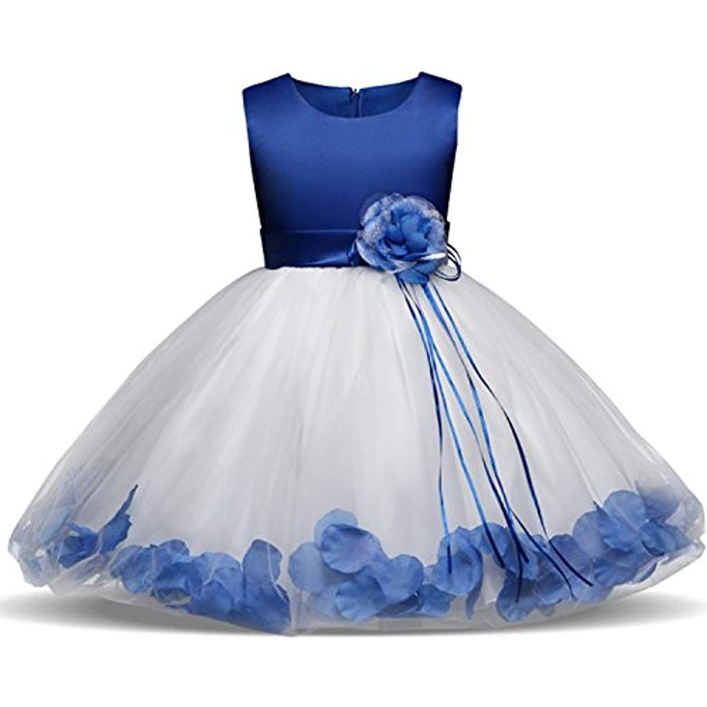 e32390996 NNJXD Girl Flower Petal Bowknot Bautizo Vestido de Fiesta de la Dama ...