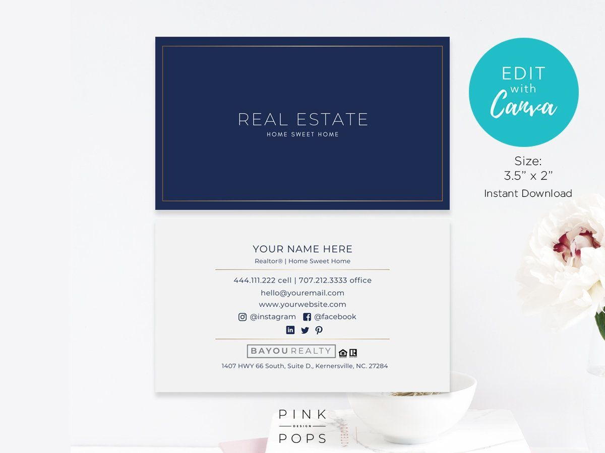 Realtor Business Card Real Estate Business Card Template Etsy Realtor Business Cards Real Estate Business Cards Real Estate Business