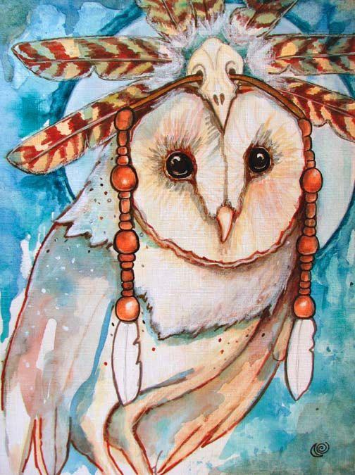 Shaman barn owl feathers headdress fine art 8x10 by MoonSpiralart, $16.00