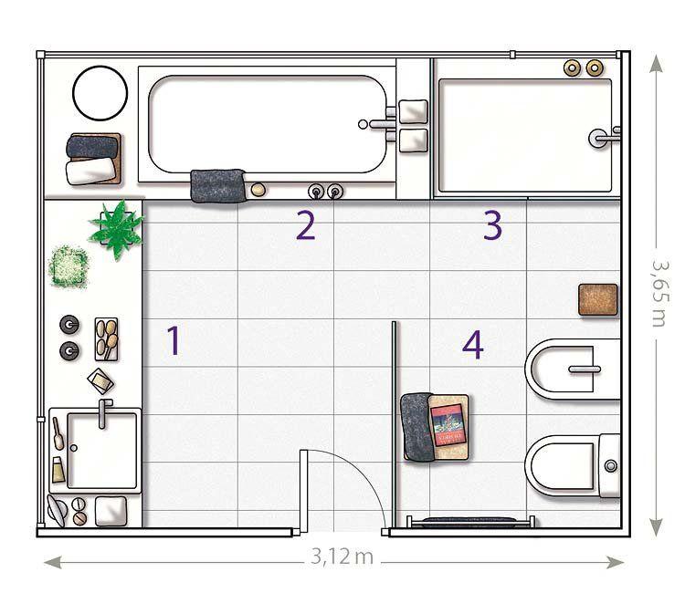 Un ba o en blanco con un gran ventanal distribuci n del ba o planos y ba o - Planos de cuartos de bano ...