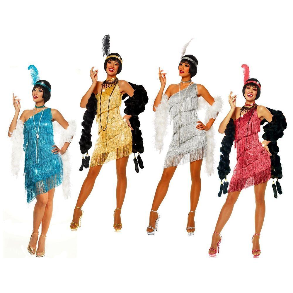 Flapper Costumes Adult Roaring 20s Flapper Girl Dress Halloween Fancy Dress