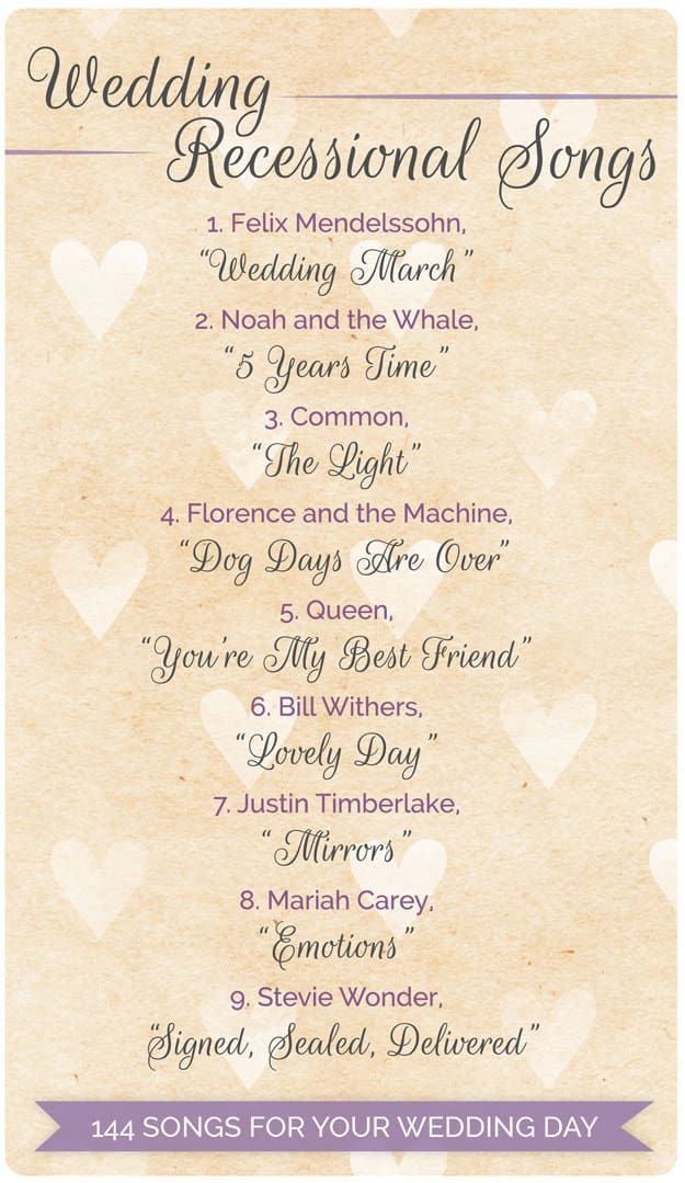 144 Swoon Worthy Songs For Every Part Of Your Wedding Day Wedding
