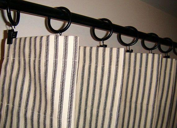 Window Curtains Ticking Stripe 50x84 Shabby Chic French Custom D Curtain Panels