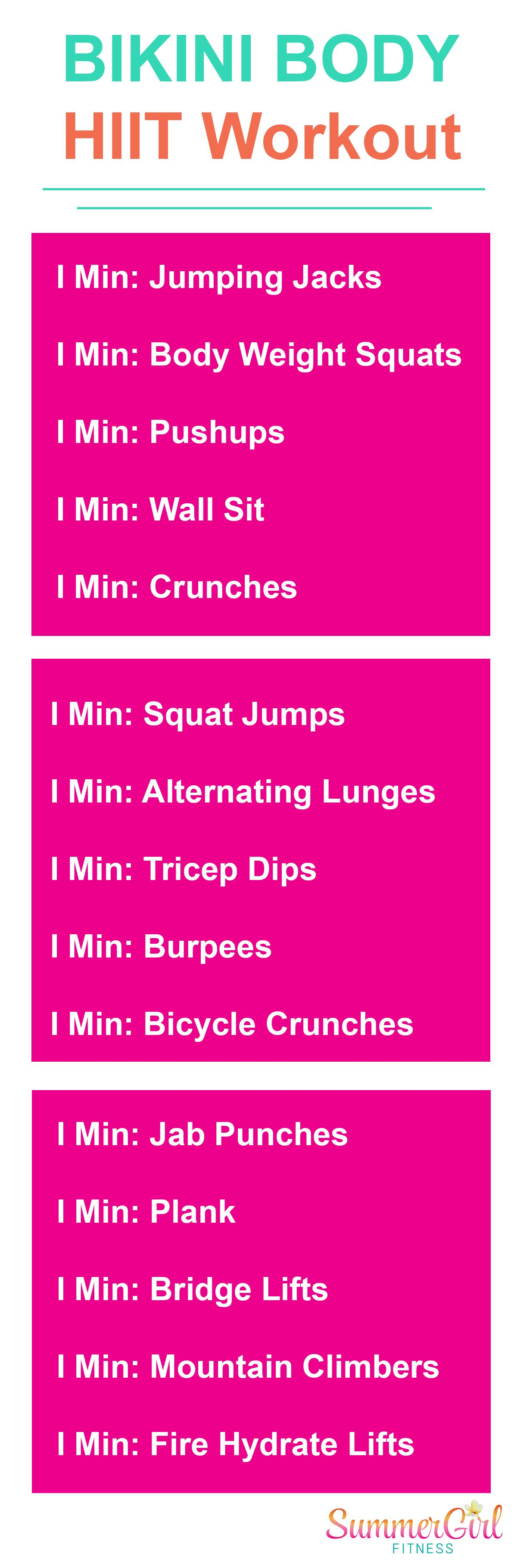 photo relating to Printable Hiit Workouts identify Bikini Physique Property HIIT Work out: #SummerGirlFitness - even further