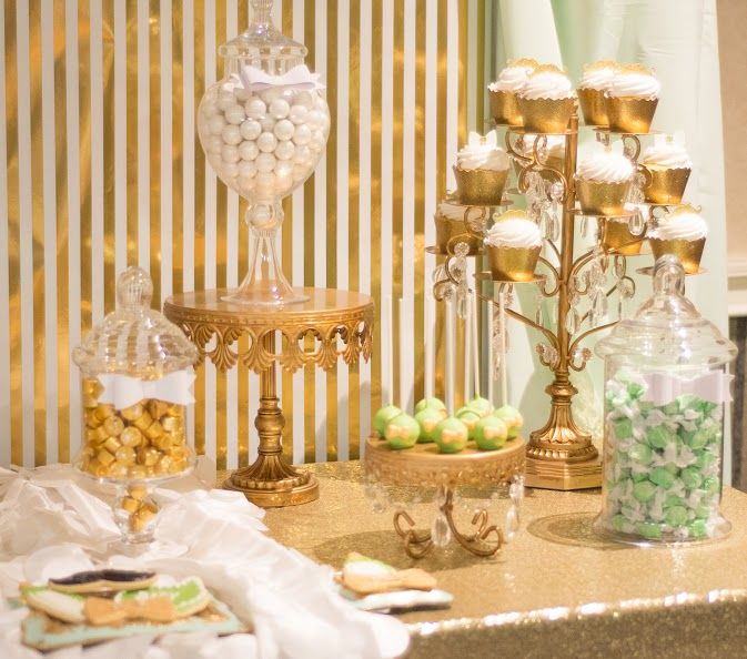 Candy Dessert Table Mint Green And Champagne Classy Mustache Bow Tie Boy Baby Shower Gold Party Decorations Gold Party Candy Station