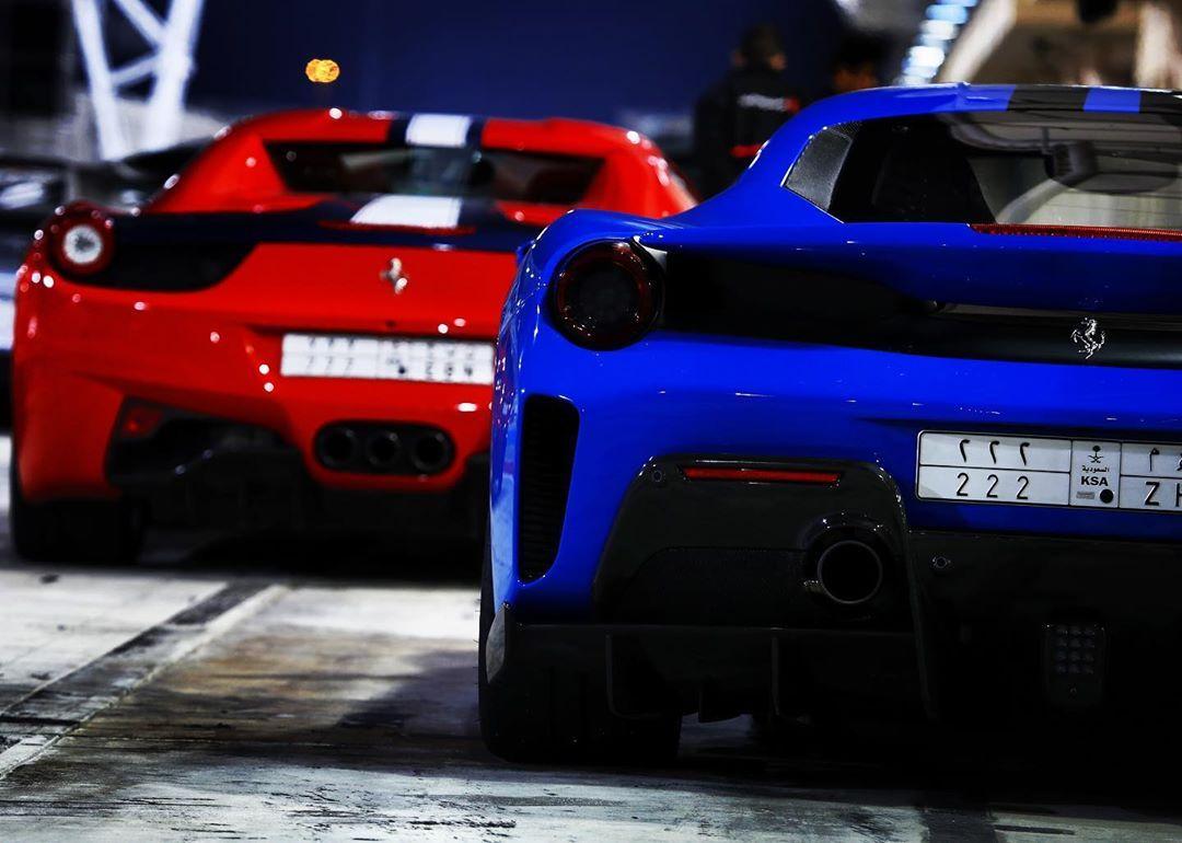 Ferrari 458 Spider and 488 Pista. NA 9000 RPM in the 458 vs a Twin Turbo V8 in the Pista. The 458 i