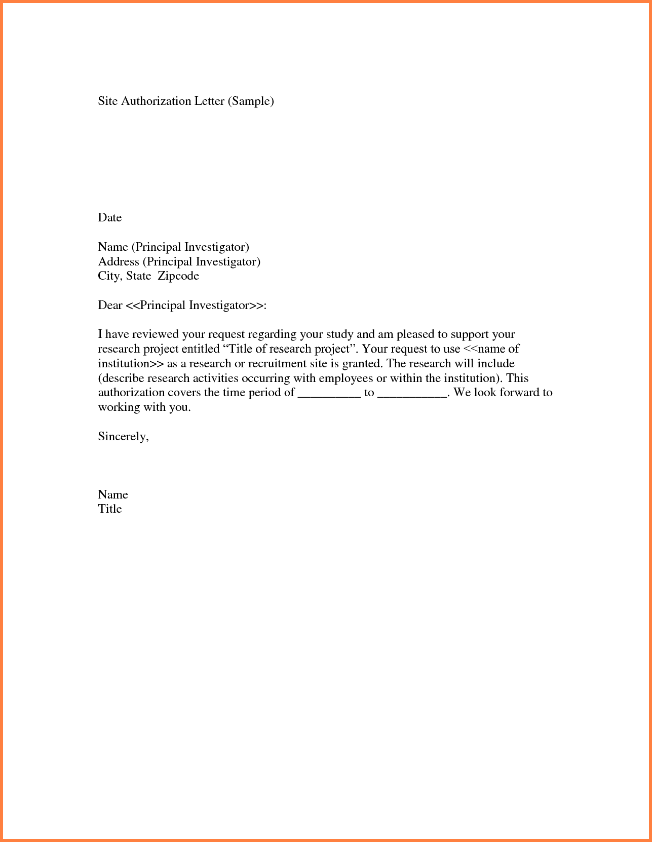 Authorization Letter Sample Minor Travel Lettermple Child Care