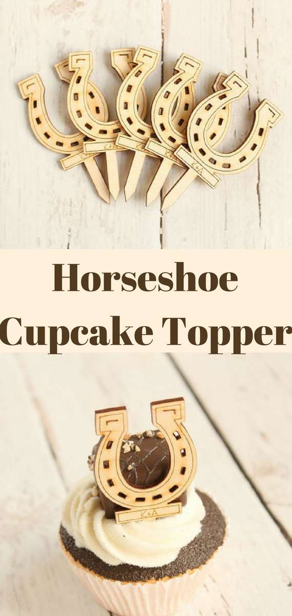 Horseshoe Cupcake Topper Lucky Horseshoe Wedding Decor Equestrian
