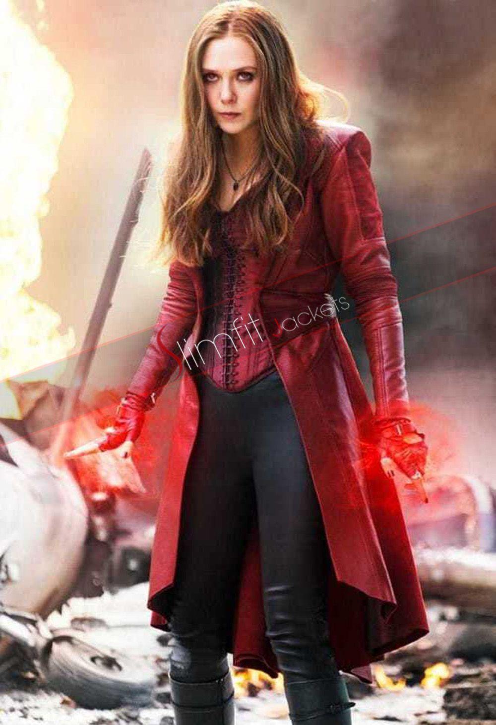 Captain America Civil War Elizabeth Olsen Red Coat Scarlet Witch Marvel Elizabeth Olsen Scarlet Witch Scarlet Witch