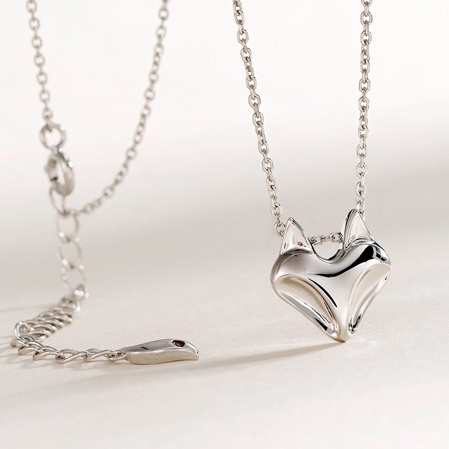 Sterling Silver Womens 1mm Box Chain Small Dolphin Pendant Necklace