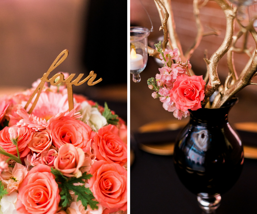Pete Wedding Reception Table Decor With C And Pink Arrangement Of Roses Daisies Greenery Flowers In Black Vase Centerpieces Gold Cursive