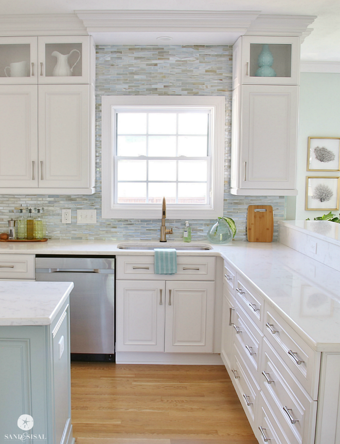 Installing a paper faced mosaic tile backsplash for White kitchen cabinets ideas