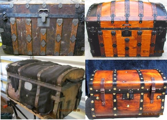 Steamer Trunks Before And After Pictures Antique Trunk Steamer Trunk Diy Furniture Flip
