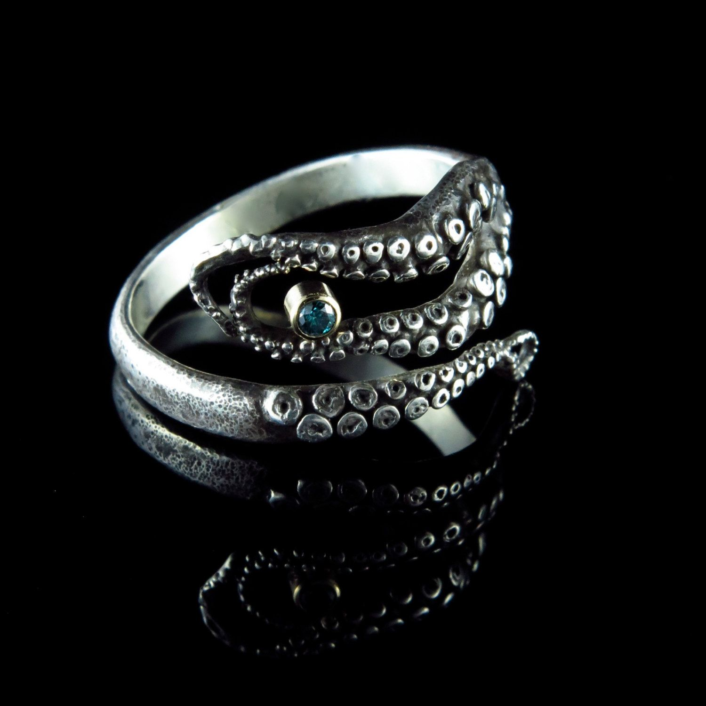 Blue Diamond Engagement Ring Wedding Band Sterling Silver 14K