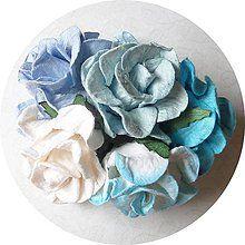 Papier - CURLY WILD ROSES (odtiene modrej - 5 ks) - 4510077_