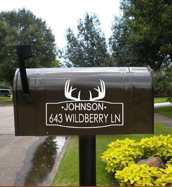 Deer Antler Mailbox Decal Set Mailbox Address Decals Deer