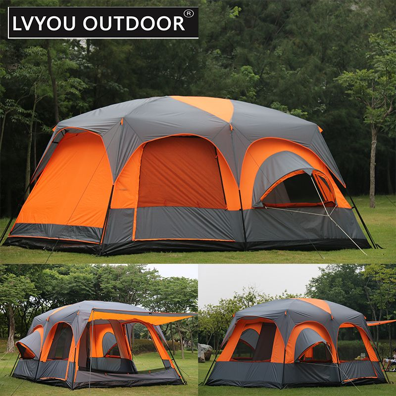 Lvyou Outdoor One Hall 2 Room Roomy Big Tent Outside Camping For 8 10 Person Waterproof Double Skin Tent Size 420x305x Family Tent Camping Tent Family Tent