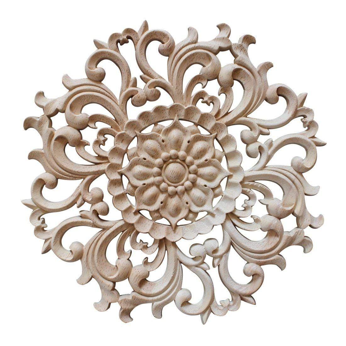 Jiyaru 1pc Wood Carved Flower Decal