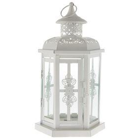 White Metal Lantern with Handle