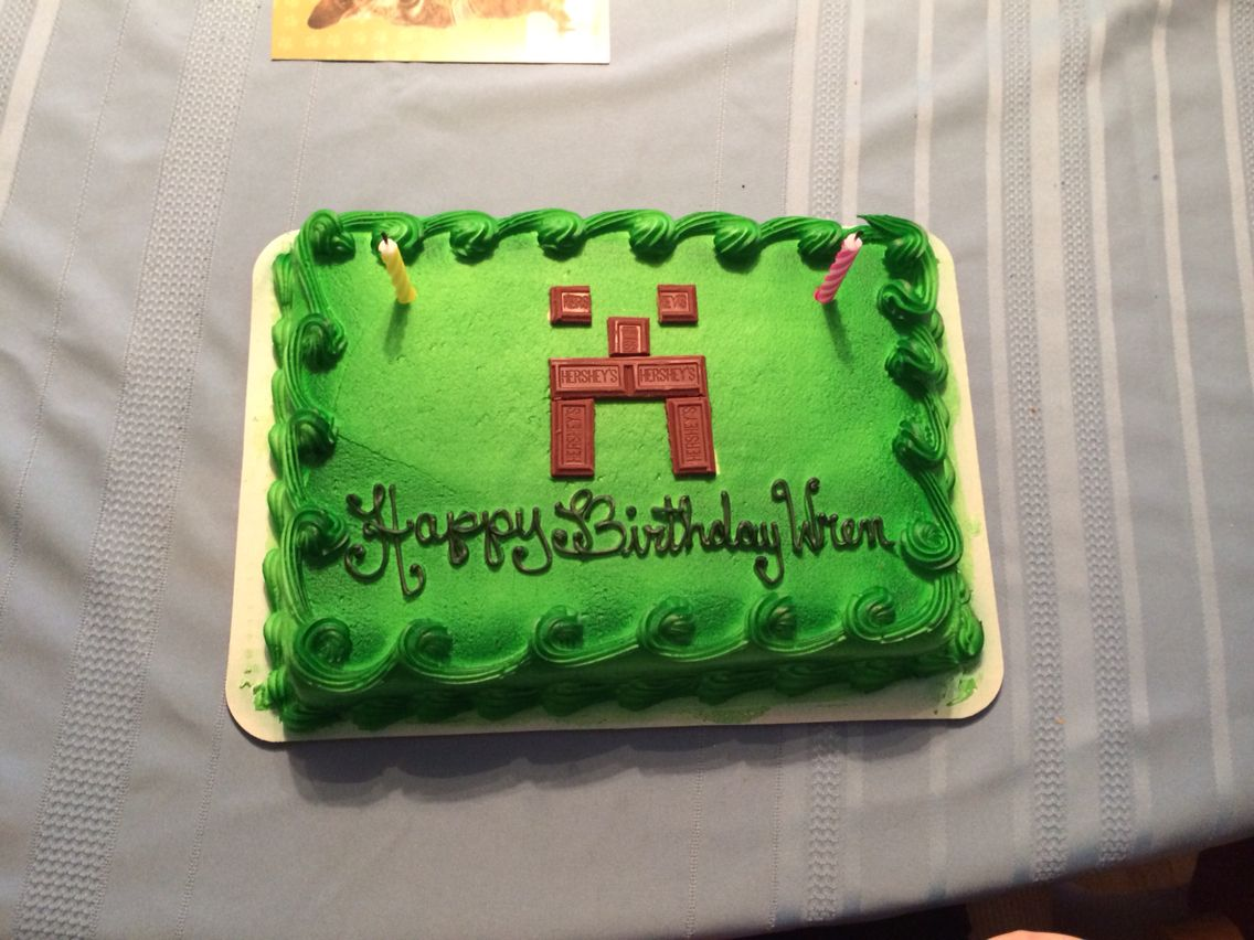 Minecraft cake) ok I only added the chocolate part...semi