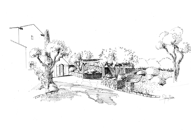 Am nagement paysager saint tropez perspective paysage for Croquis jardin paysager