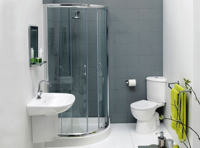 Elegant Small Bathroom Design With Modular Round Shower Room Mixed And  Glass Door With Floating Washbasin