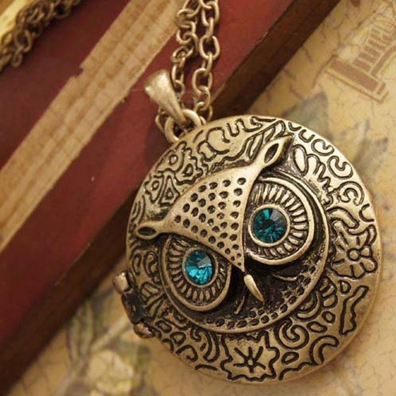Retro Chic Owl Pattern Photo Locket Pendant Long Collar Chain Sweater Necklace | eBay