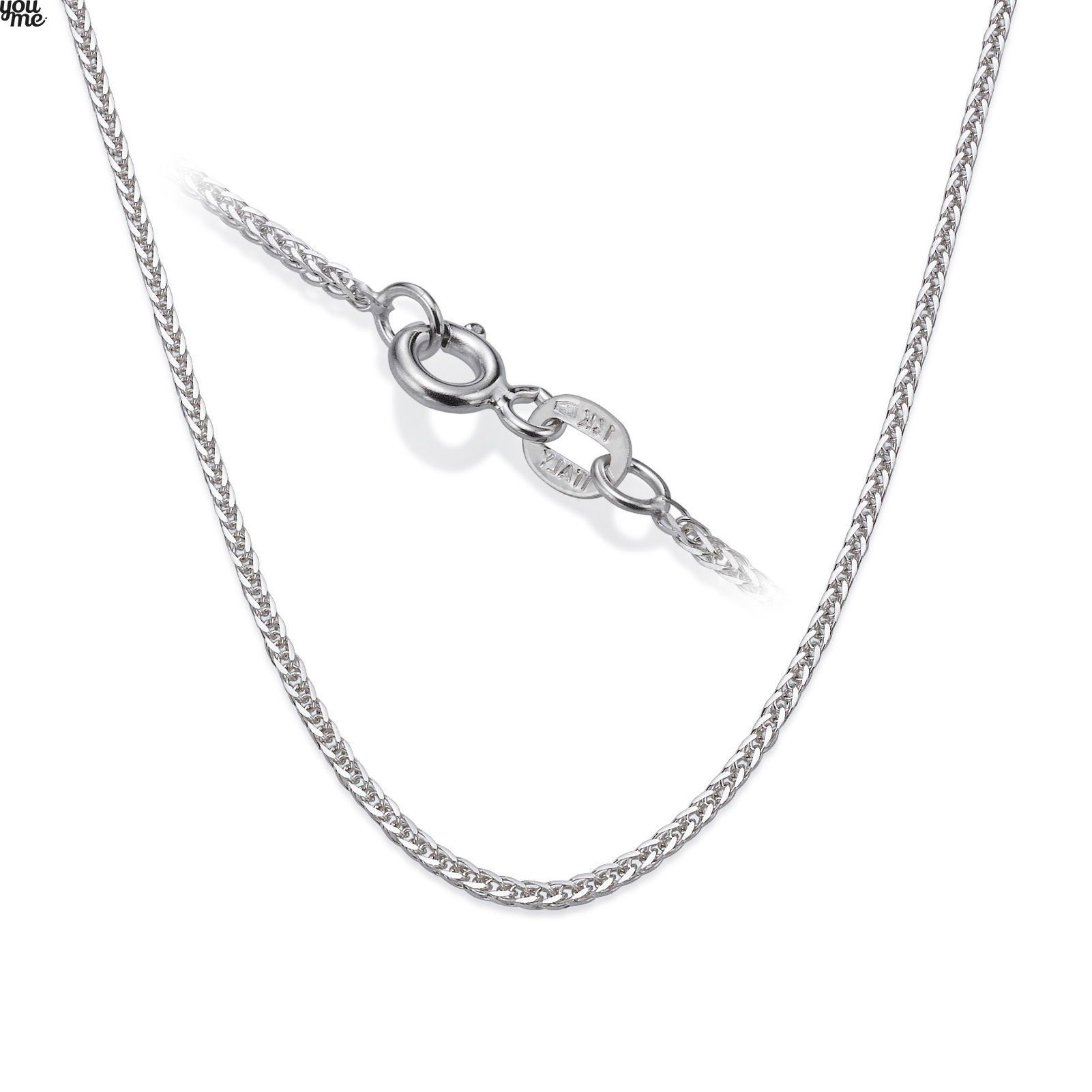 """14K White Gold Chain For Pendant Necklace 17 72"""" 0 8mm Spring"""