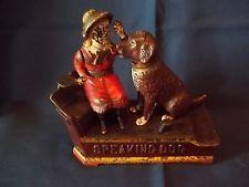 C Original Antique Speaking Dog Cast Iron Mechanical Bank 1885 Working Condition