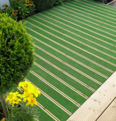 B q grassedeck artificial grass deck board l 2100 w 144 for Garden decking and grass