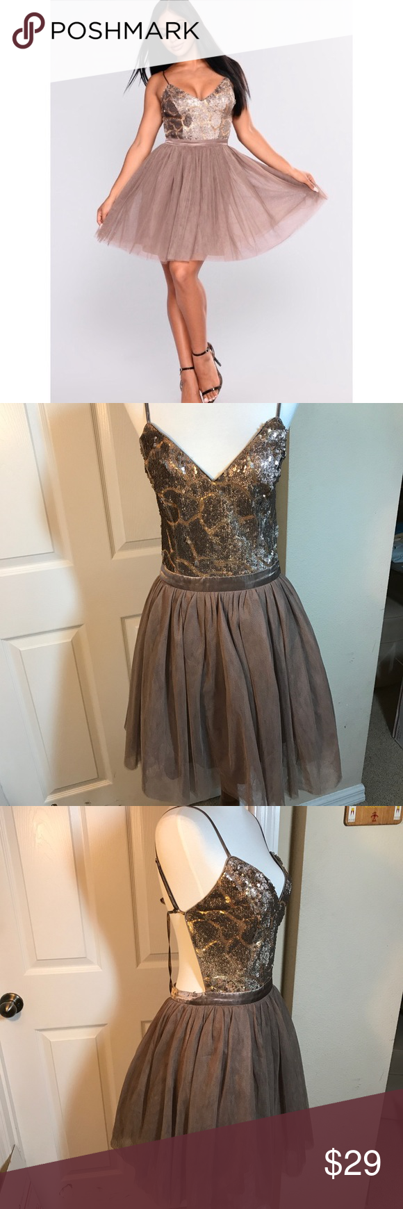 Sequin Dress Semi Formal Prom Large Cocktail NWT NWT