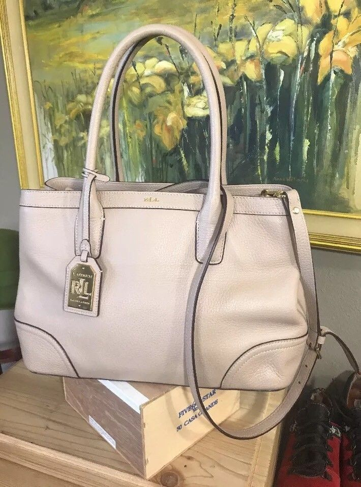 2734dd2d1ce RLL 1967 Ralph Lauren Structured Nude Pebbled Leather Handbag Long Strap  Look   Love My Closet   Pinterest   Nude, eBay and Leather