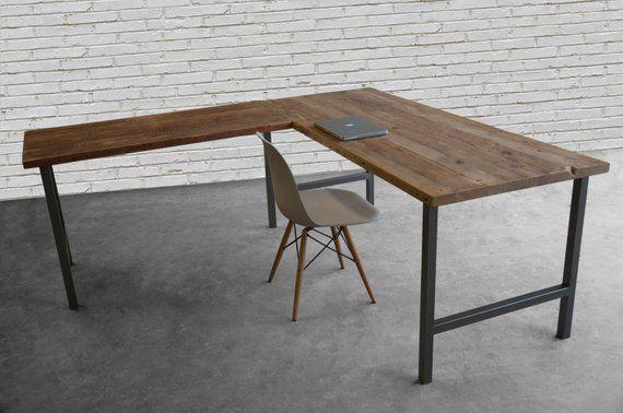 L Shaped Desk Made Of Reclaimed Wood And Steel H Base Etsy L Shaped Desk Modern Corner Desk Solid Wood Desk