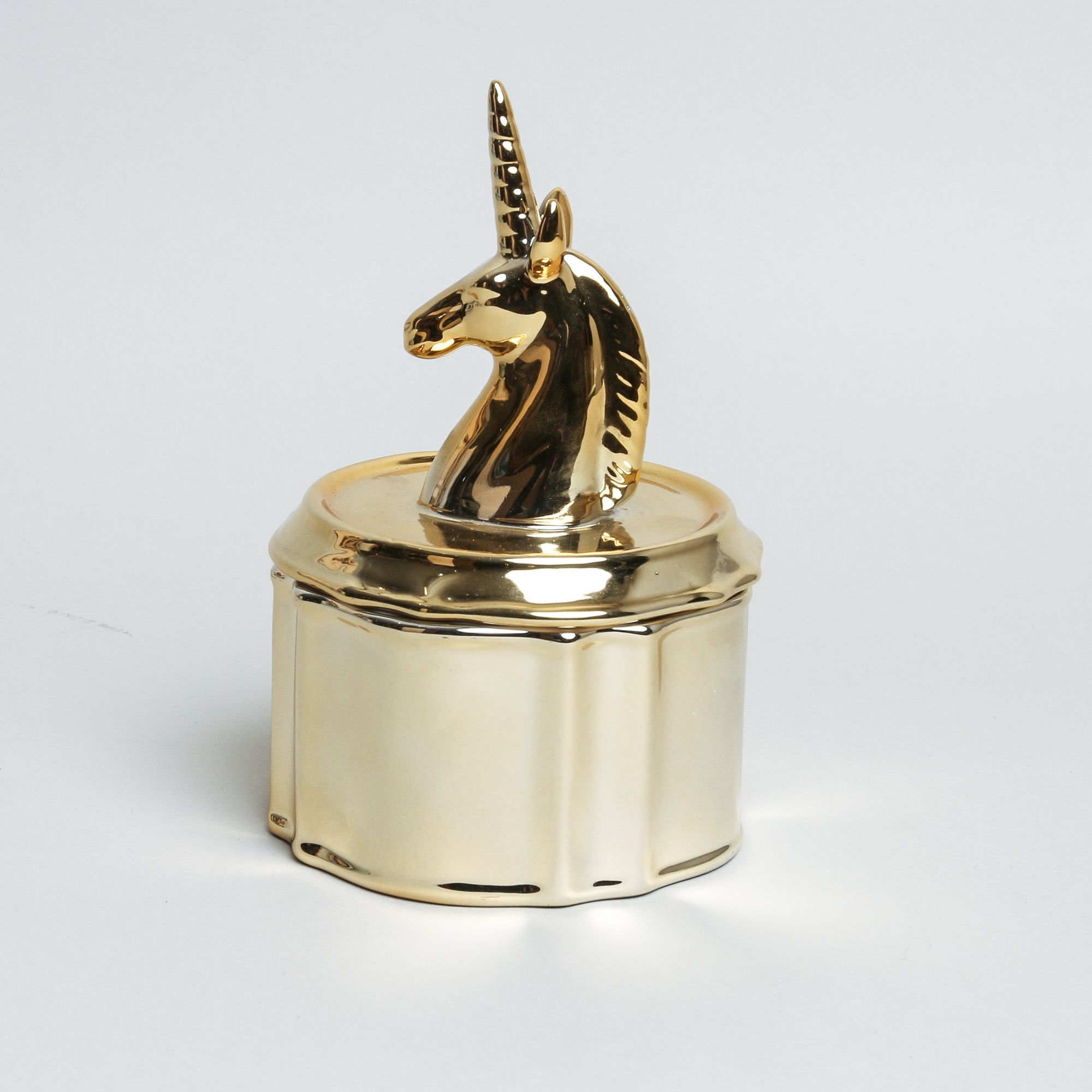Gold porcelain unicorn jewellery box decorative porcelain jewellery