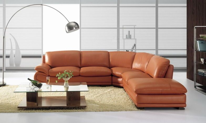 BO3920 Modern CAMEL Leather Sectional Sofa BURNT ORANGE | sectionals ...