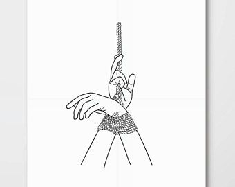 bondage poster, erotic wall art, mature, bdsm, minimalistic line art, minimal line drawing woman hand, sexy female illustration art, modern