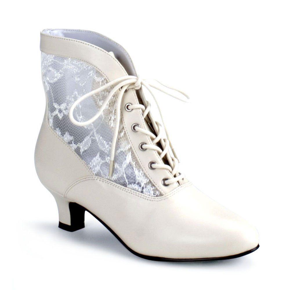 Sale Victorian-30 Damen Stiefeletten Ankle Bootie champagner Spitze Satin Gr 43
