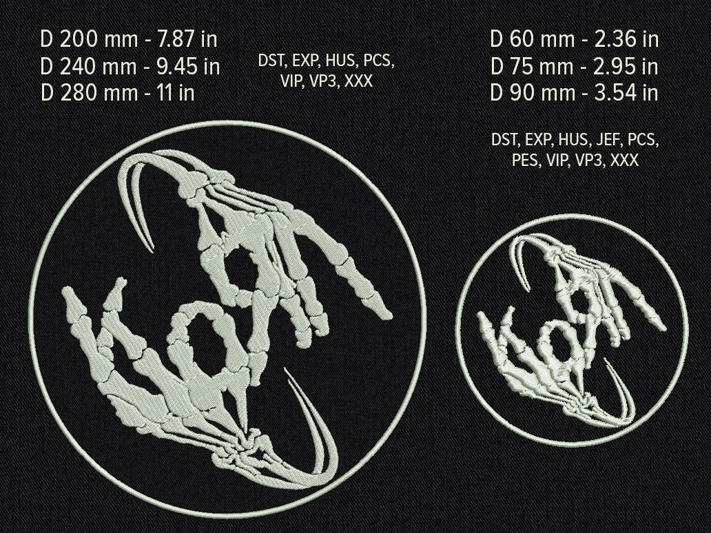 Korn skeleton hands patch - Machine embroidery design - 6 sizes for ...