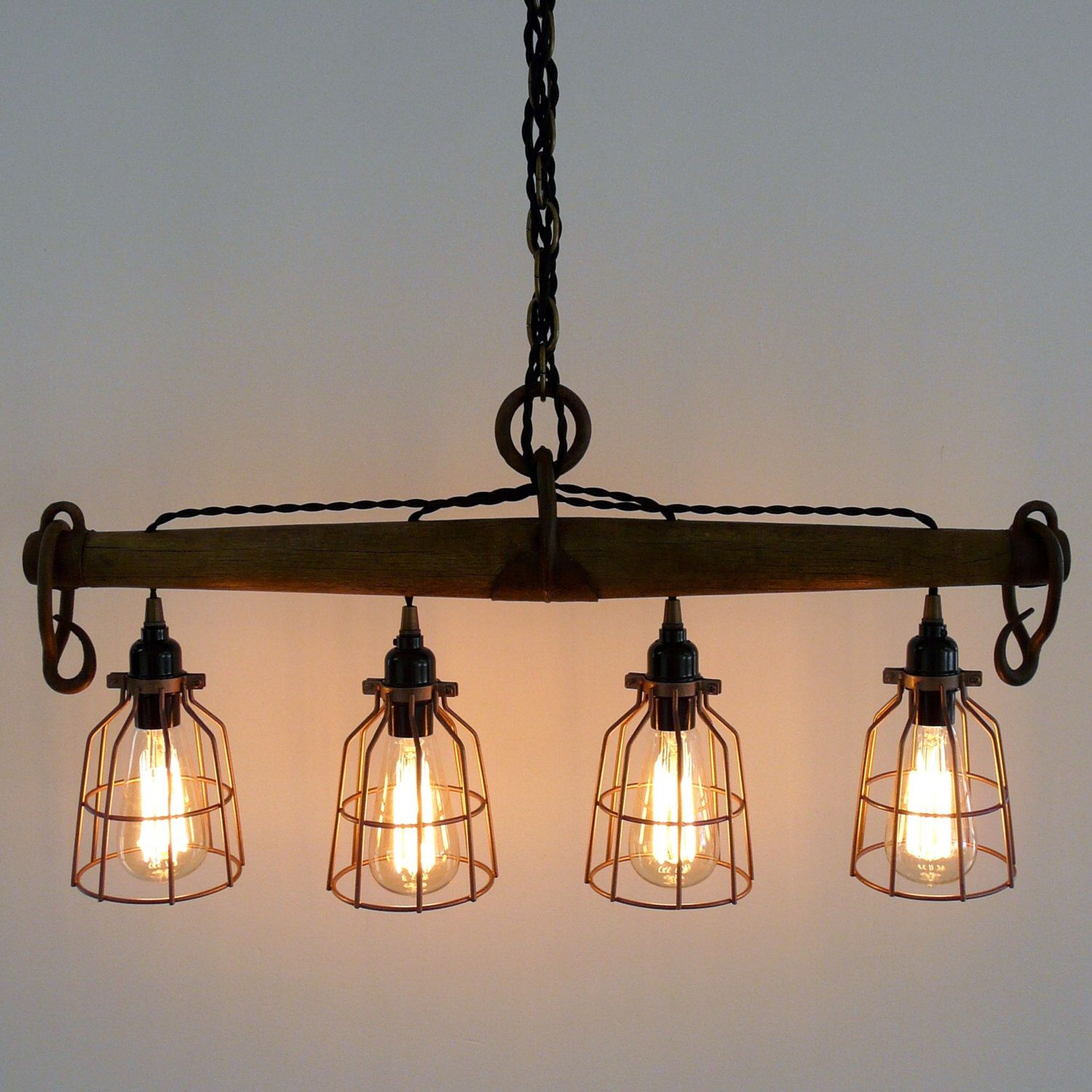 Rustic Industrial Yoke Chandelier, Modern Industrial