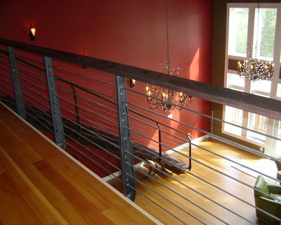 Unique Porch Rail Designs And Materials : Elegant Black Stair Rail Design  With Iron Horizontal Railing