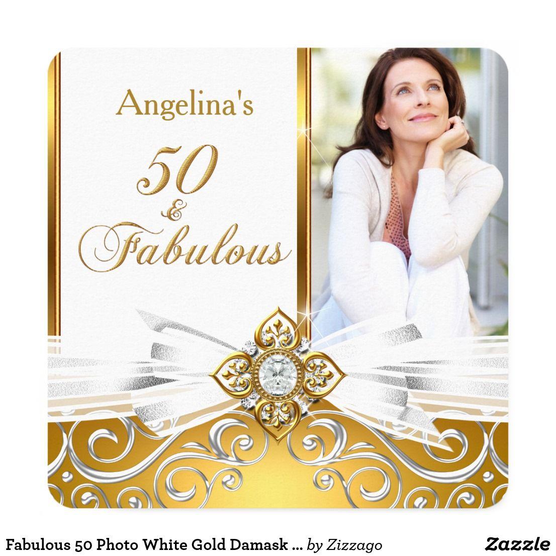 Fabulous 50 Photo White Gold Damask Birthday Party Invitation ...