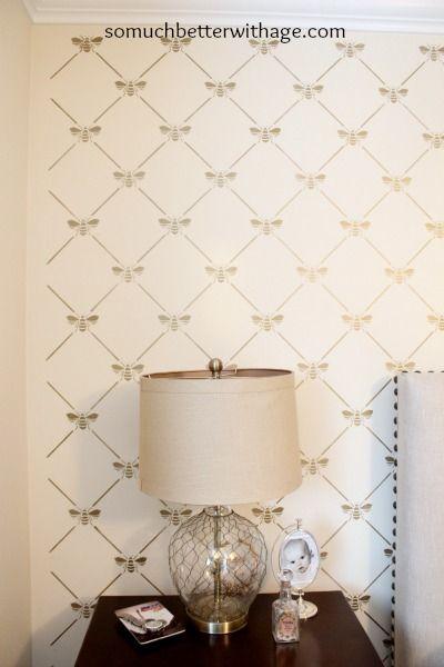 BEEutiful Stencilled Wall Diy wall decor, Wallpaper
