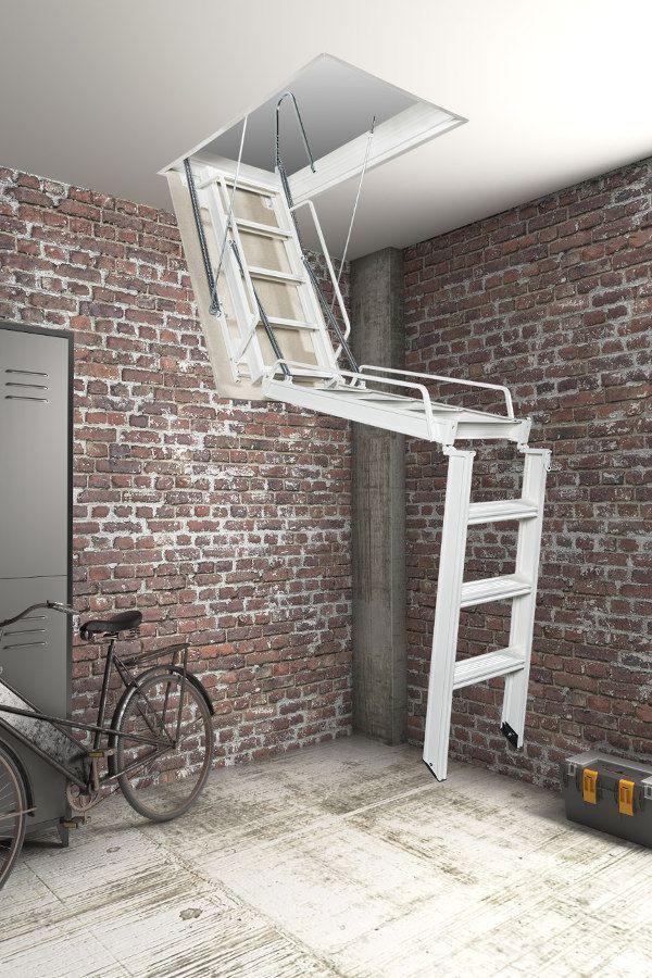 Best Fantozzi Tre 3 Section Steel Folding Loft Ladder In 2020 640 x 480