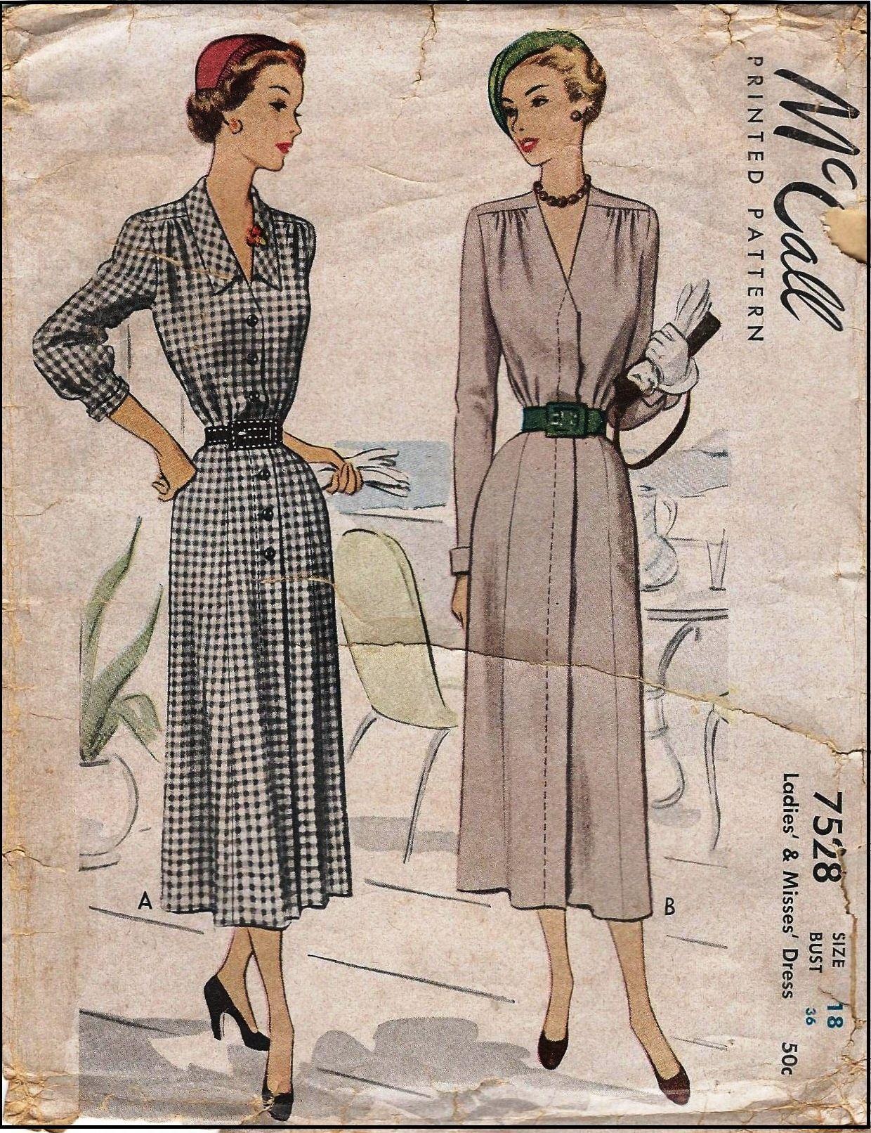 1949 ladies dress sewing pattern mccall 7528 pattern stuff 1949 ladies dress sewing pattern mccall 7528 jeuxipadfo Choice Image