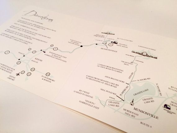 Tri Fold Custom Wedding Invitation Map Itinerary Rsvp