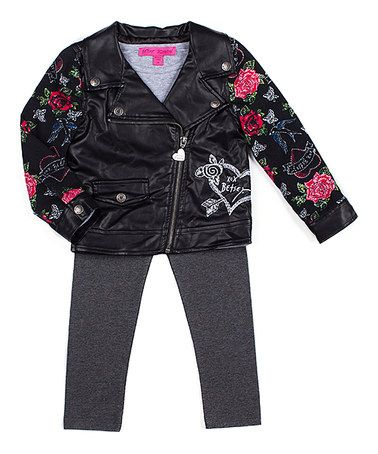 Another great find on #zulily! Black Floral Jacket Set - Toddler & Girls #zulilyfinds
