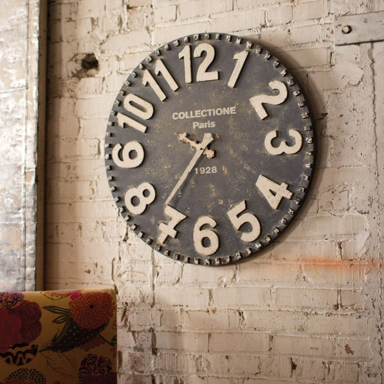 Made From Recycled Wood This Oversized Vintage Black And White Wall Clock Features A Beautifully