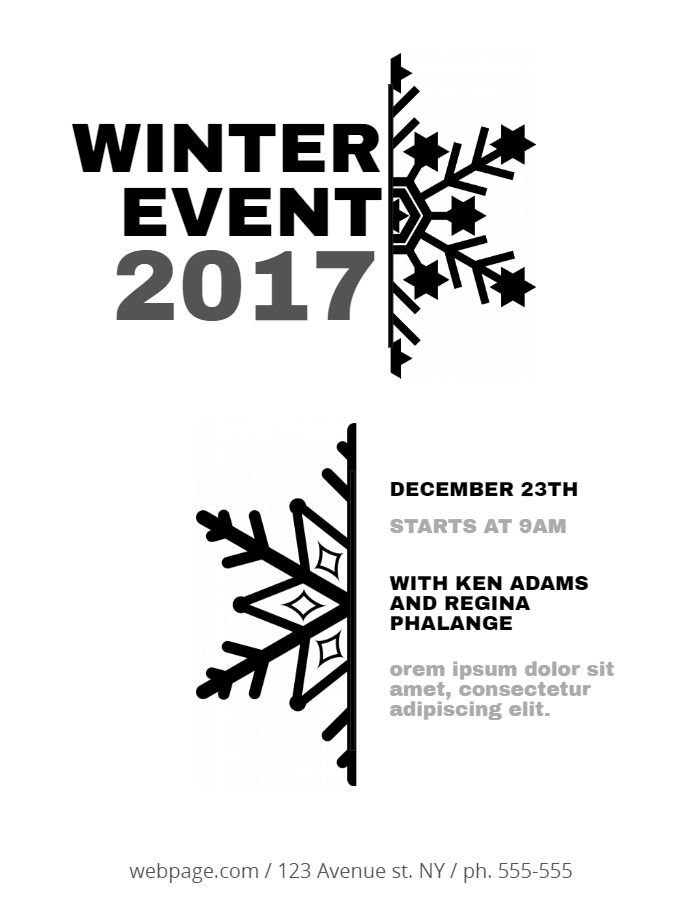 Black And White Christmas Event Flyer Template Christmas Poster